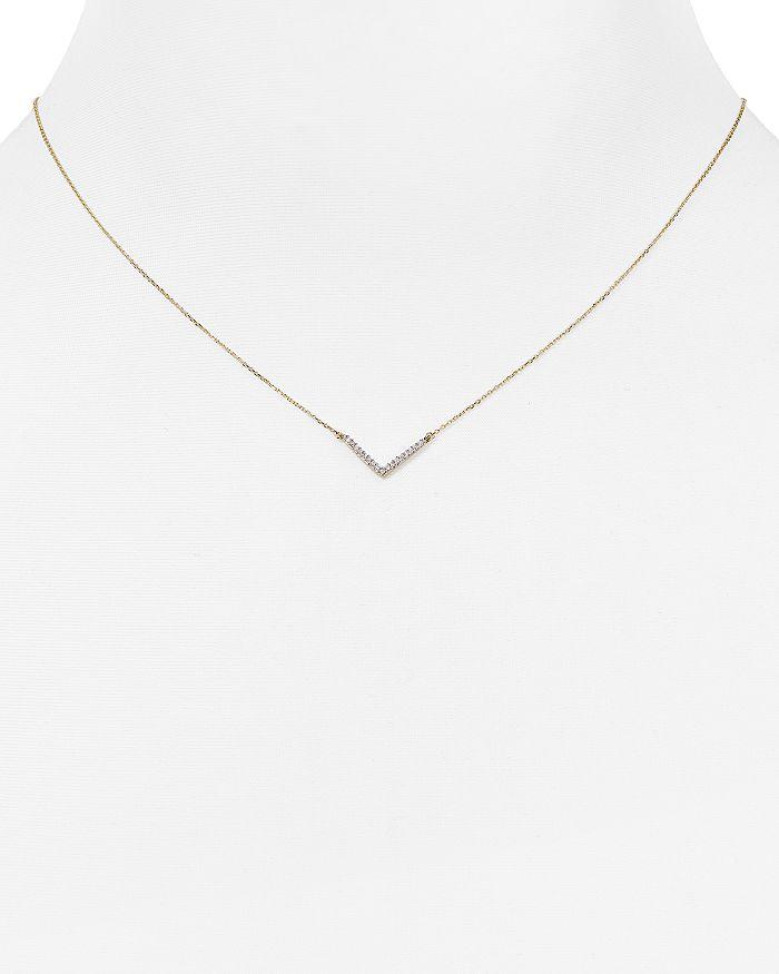 """Adina Reyter - Diamond Pavé V Pendant Necklace, 15"""""""