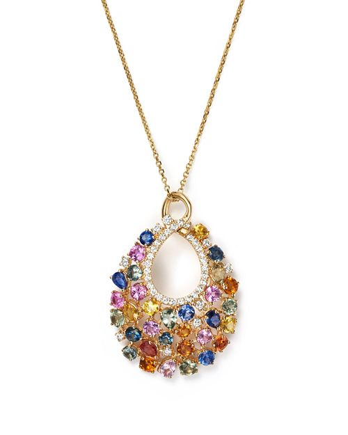 "Bloomingdale's - Diamond and Multi Sapphire Pendant Necklace in 14K Yellow Gold, 16"" - 100% Exclusive"