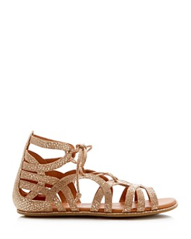 Gentle Souls by Kenneth Cole - Women's Break My Heart Metallic Snake Embossed Lace Up Sandals