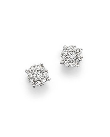 Bloomingdale's - Diamond Cluster Stud Earrings in 14K White Gold, .25 ct. t.w.- 100% Exclusive