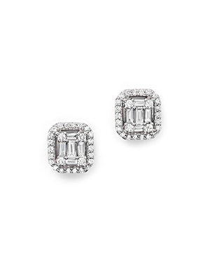 Diamond Baguette and Round Stud Earrings in 14K White Gold, .50 ct. t.w. - 100% Exclusive