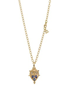 Temple St. Clair - 18K Gold Small Owl Locket with Tanzanite and Diamonds