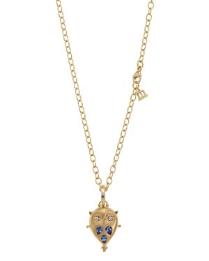 Temple St. Clair 18K Gold Small Owl Locket with Tanzanite and Diamonds