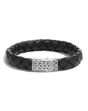 John Hardy Men's Classic Chain Woven Leather & Silver Medium Bracelet