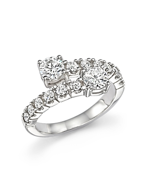 Diamond Two-Stone Bypass Ring in 14K White Gold, 1.20 ct. t.w. - 100% Exclusive