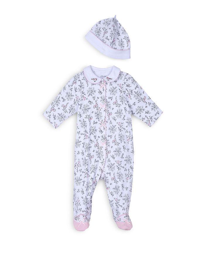 Little Me - Girls' Bird Toile Footie & Hat Set - Baby