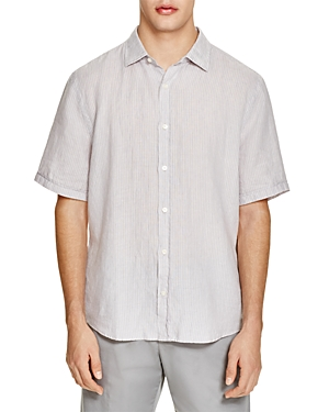 The Men's Store at Bloomingdale's Linen Stripe Regular Fit Button-Down Shirt