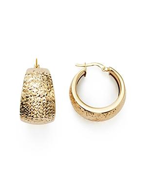 14K Yellow Gold Wide Hoop Earrings - 100% Exclusive