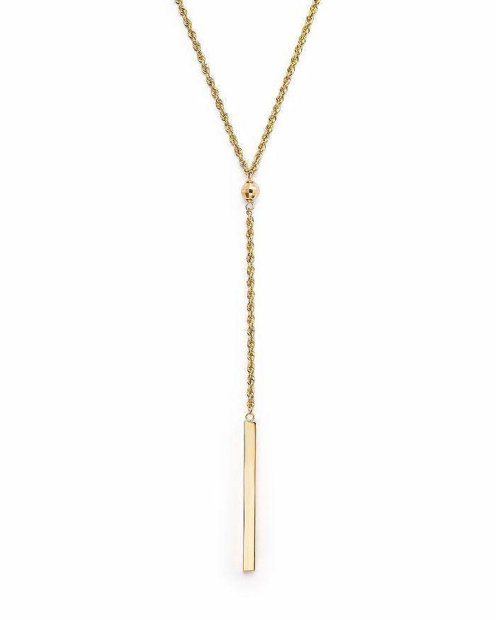 """Bloomingdale's - 14K Yellow Gold Rope Chain Bar Drop Necklace, 18"""" - 100% Exclusive"""