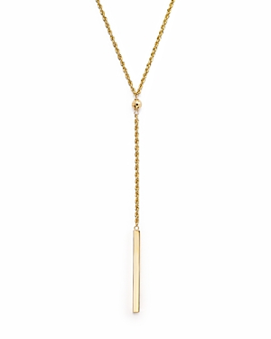 14K Yellow Gold Rope Chain Bar Drop Necklace