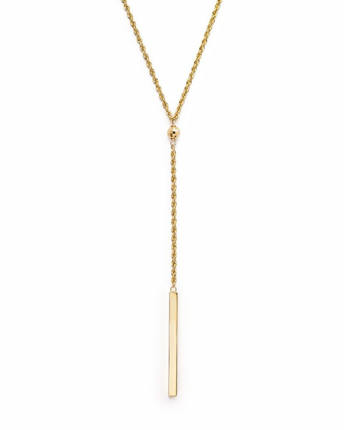 """Bloomingdale's 14K Yellow Gold Rope Chain Bar Drop Necklace, 18"""" - 100% Exclusive    Bloomingdale's"""