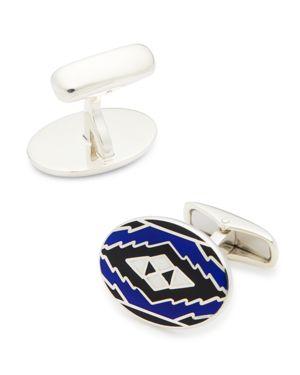 Belfiore Aztec Pattern Oval Silver Cufflinks