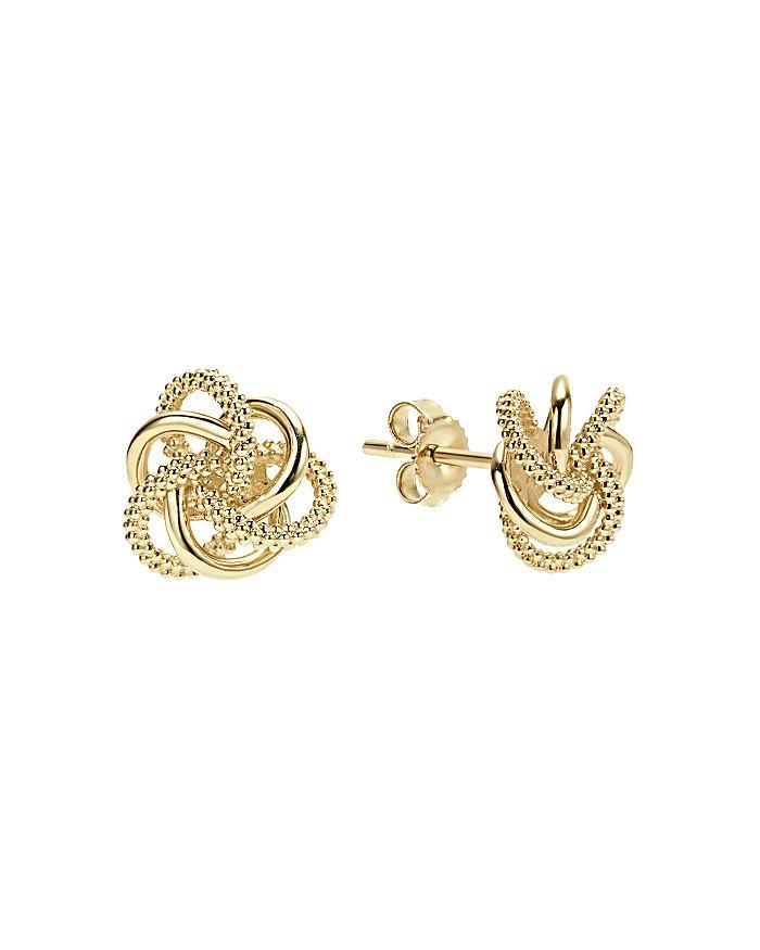 18k Yellow Gold Love Knot Stud Earrings