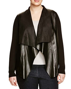 Michael Michael Kors Plus Faux Leather Drape Cardigan