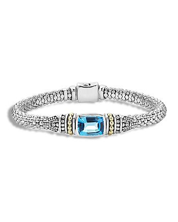 LAGOS - 18K Gold and Sterling Silver Caviar Color Bracelet with Swiss Blue Topaz