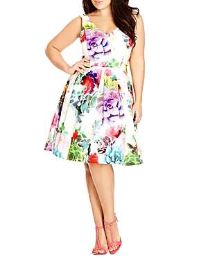 City Chic Succulent Print Pleated Dress
