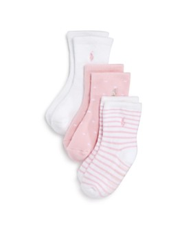 Ralph Lauren - Girls' Crew Socks, 3 Pack - Baby