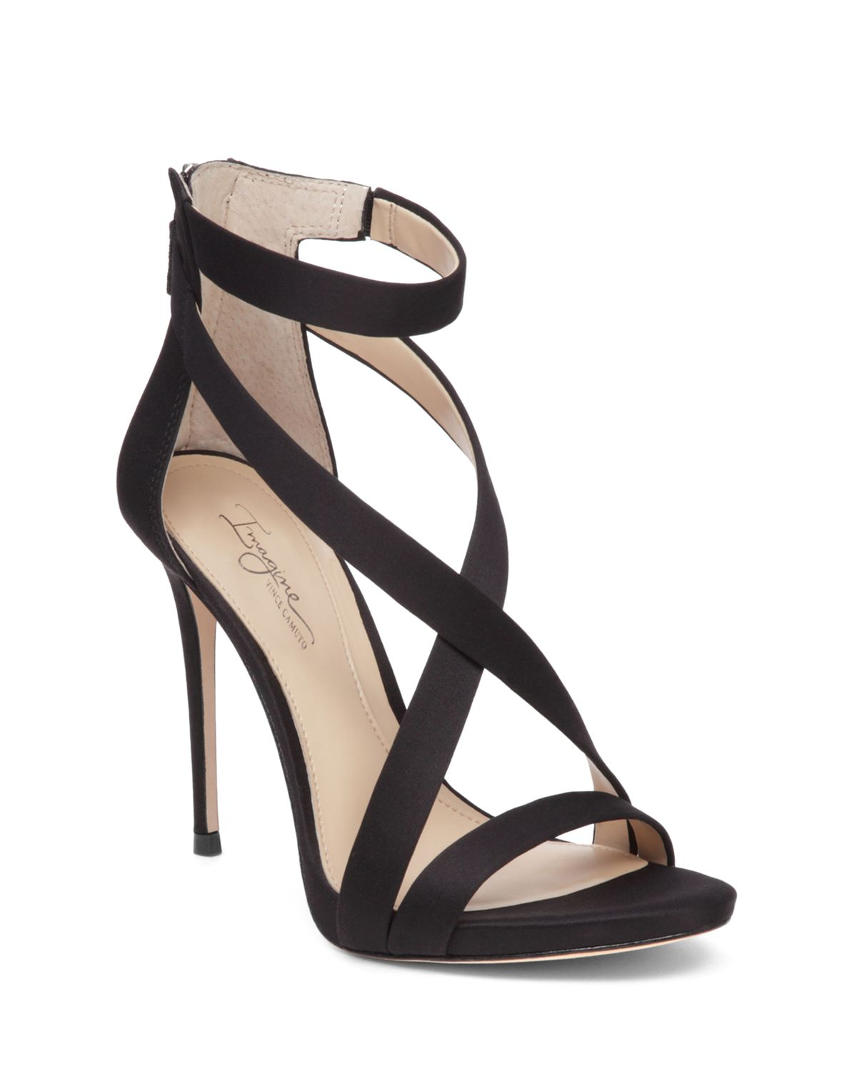 Vince Camuto Devin Satin High-Heel Ankle Strap Sandals