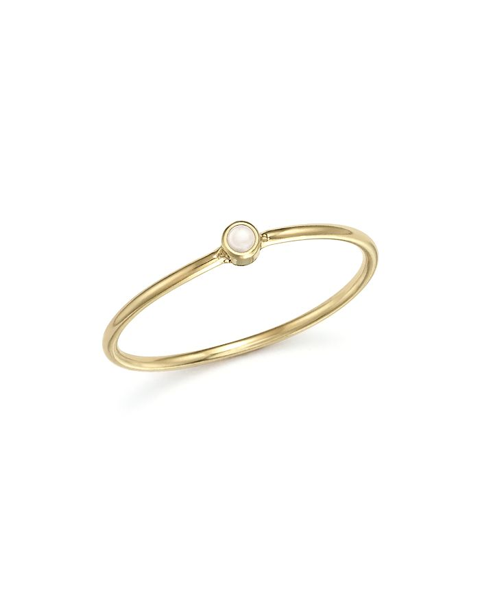 Zoë Chicco - 14K Yellow Gold and Opal Bezel Thin Ring
