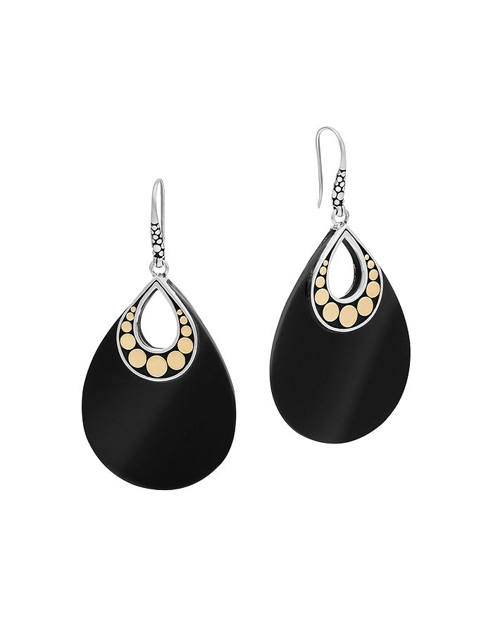 JOHN HARDY - 18K Yellow Gold and Sterling Silver Batu Carved Chain Earrings with Black Onyx