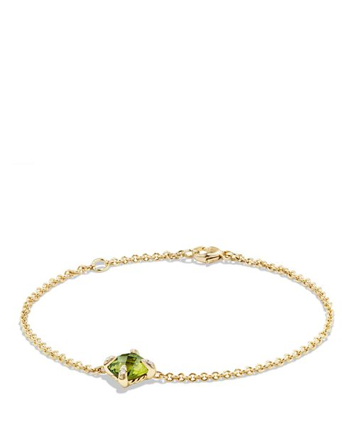 David Yurman - Châtelaine Bracelet with Peridot and Diamonds in 18K Gold