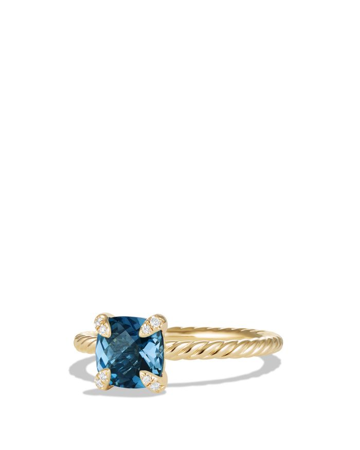 David Yurman Châtelaine Ring with Hampton Blue Topaz and Diamonds in 18K Gold     Bloomingdale's