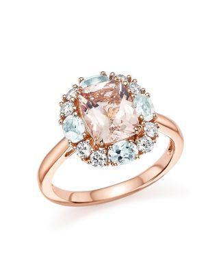 Morganite Aquamarine and Diamond Ring in 14K Rose Gold 100