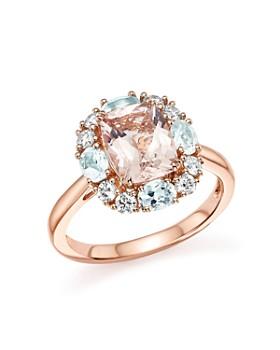 Bloomingdale's - Morganite, Aquamarine and Diamond Ring in 14K Rose Gold- 100% Exclusive