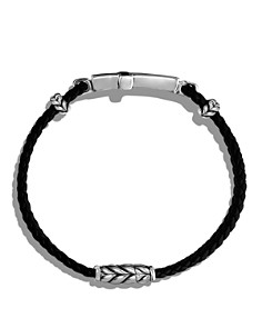 David Yurman - Exotic Stone Cross Station Leather Bracelet with Black Onyx