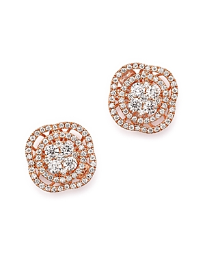 Diamond Cluster Stud Earrings in 14K Rose Gold, 1.0 ct. t.w. - 100% Exclusive