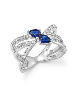 Sapphire and Diamond Two Stone X Ring in 14K White Gold - 100% Exclusive