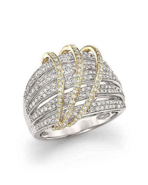 Bloomingdale's - Diamond Multirow Ring in 14K White and Yellow Gold, 1.0 ct. t.w. - 100% Exclusive