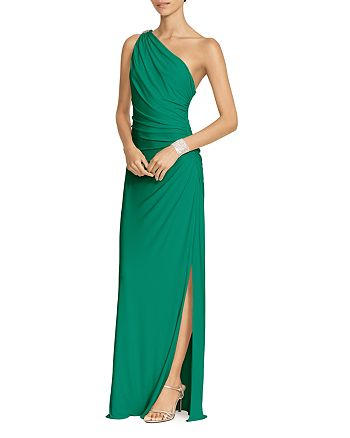 Ralph Lauren - One Shoulder Ruched Gown with Brooch