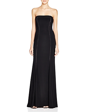 Adrianna Papell Eyelet Detail Strapless Gown