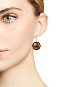 Roberto Coin - 18K Yellow Gold Ipanema Round Earrings with Citrine