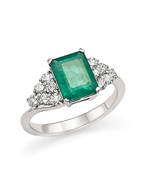 Emerald and Diamond Ring in 14K White Gold - 100% Exclusive