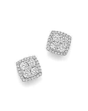 Diamond Cluster Square Stud Earrings in 14K White Gold, 1.0 ct. t.w. - 100% Exclusive