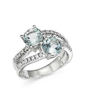 Aquamarine and Diamond Two Stone Ring in 14K White Gold - 100% Exclusive