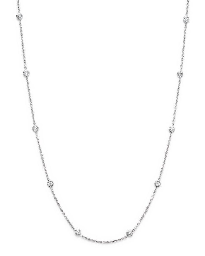 Roberto Coin - 18K White Gold Diamond Station Necklace, 16""