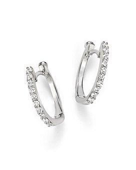 Roberto Coin - 18K Gold Small Diamond Huggie Hoop Earrings