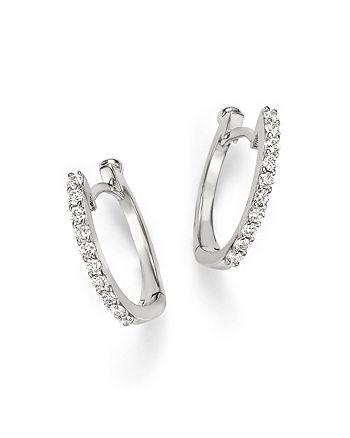 Roberto Coin - 18K White Gold Small Diamond Hoop Earrings