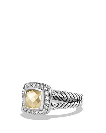 David Yurman - Petite Albion Ring with Gold Dome and Diamonds