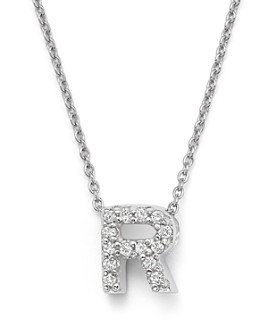"""Roberto Coin - 18K White Gold """"Love Letter"""" Initial Pendant Necklace with Diamonds, 16"""""""