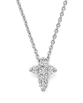 Roberto Coin - 18K White Gold Small Cross Pendant Necklace with Diamonds, 16""