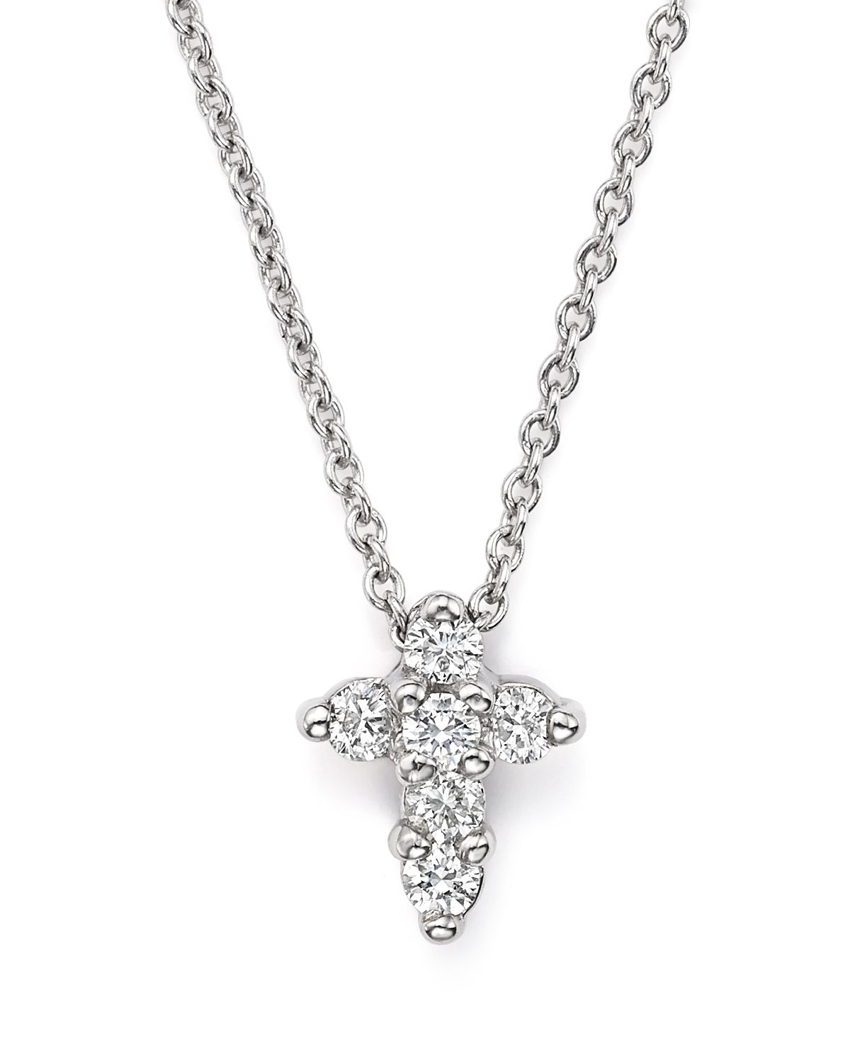 Roberto Coin 16 White Gold Med Diamond Cross Pendant Necklace xF2hpY97mE