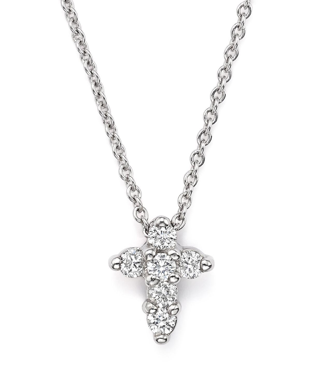 Roberto Coin 16 White Gold Med Diamond Cross Pendant Necklace
