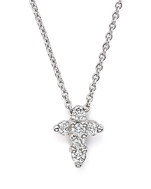 Roberto Coin 18K White Gold Small Cross Pendant Necklace with Diamonds, 16