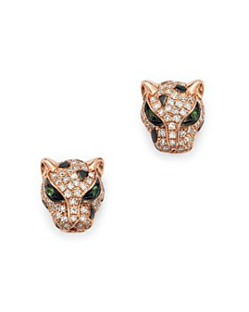 Bloomingdale's - Diamond and Tsavorite Panther Studs in 14K Rose Gold - 100% Exclusive