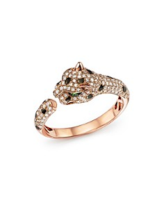 Bloomingdale's - Diamond and Tsavorite Panther Ring in 14K Rose Gold - 100% Exclusive