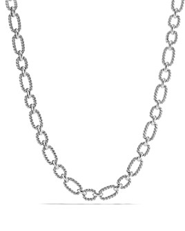 David Yurman - Chain Cushion Link Necklace with Blue Sapphire in Sterling Silver